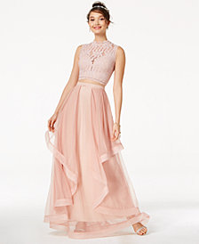 Speechless Juniors' 2-Pc. Glitter Lace & Mesh Gown