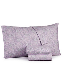 Martha Stewart Essentials 4-Pc. Printed Microfiber California King Sheet Set, Created for Macy's