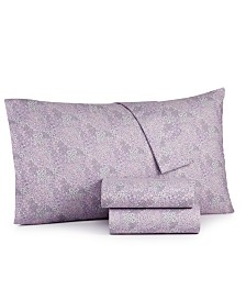 CLOSEOUT! Martha Stewart Essentials 4-Pc. Printed Microfiber Full Sheet Set, Created for Macy's