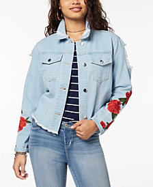 Say What? Juniors' Ripped Embroidered Denim Jacket
