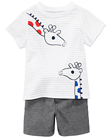 First Impressions Giraffe Graphic-Print T-Shirt & Shorts Separates, Baby Boys, Created for Macy's