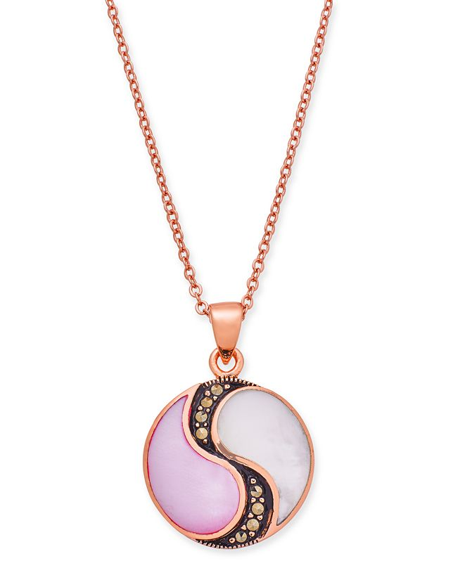 """Macy's Marcasite & Mother-of-Pearl Disc 18"""" Pendant Necklace in Rose Gold-Plate"""