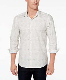 Tallia Men's Slim-Fit Gray Floral Print Shirt