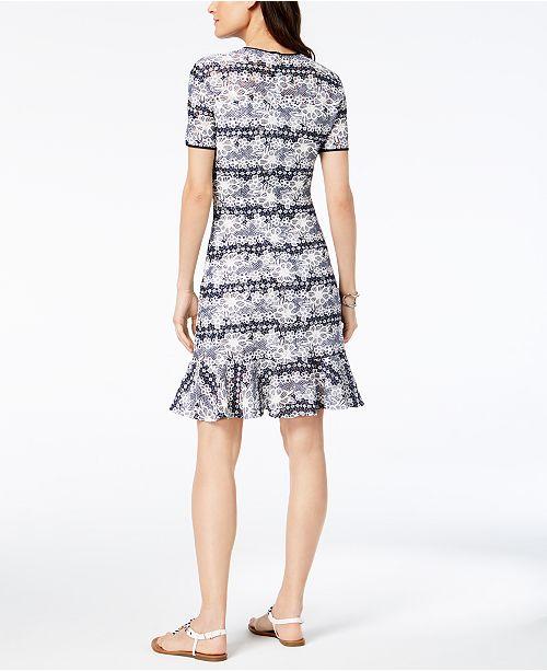 2e17adbc04da Tommy Hilfiger Striped Lace Flounce-Hem Dress & Reviews - Dresses ...