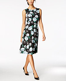 Charter Club Petite Printed Knit A-Line Dress, Created for Macy's