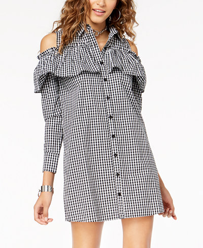 The Edit By Seventeen Juniors' Cotton Cold-Shoulder Shirtdress, Created for Macy's