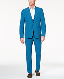 Perry Ellis Premium Men's Slim-Fit Stretch Turquoise Solid Tech Suit, Machine Washable