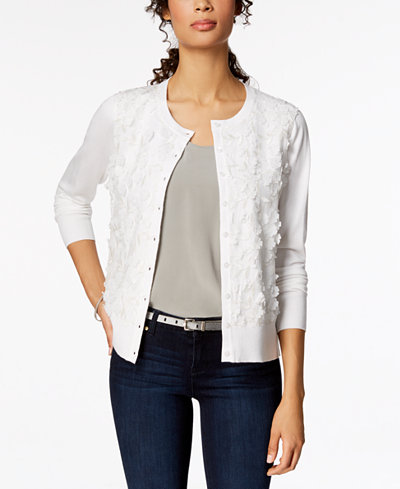 Charter Club Petite Floral-Appliqué Cardigan, Created for Macy's