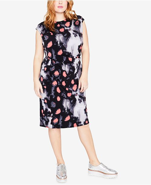 5dafc2795c6 Trendy Plus Size Printed Ruched Dress. Be the first to Write a Review. main  image  main image ...
