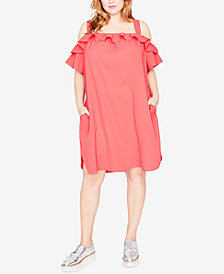 RACHEL Rachel Roy Trendy Plus Size Ruffled Cold-Shoulder Dress