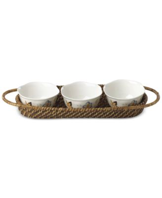 Butterfly Meadow Rattan Hors D'Oeuvre Holder With 3 Bowls