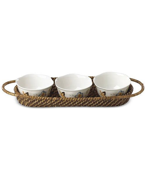 Lenox Butterfly Meadow Rattan Hors D'Oeuvre Holder With 3 Bowls