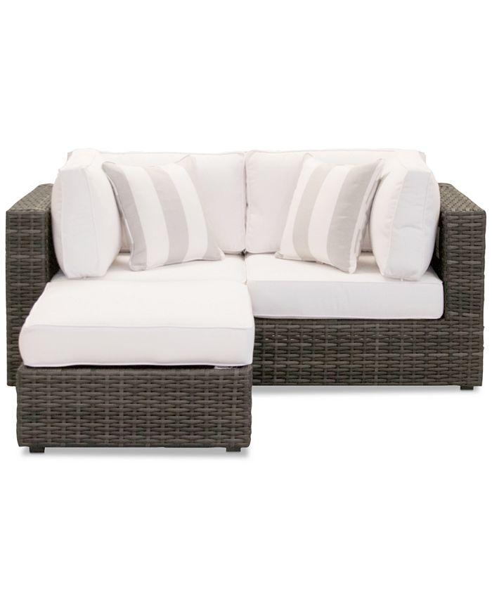 Furniture - Viewport Outdoor 3-Pc. Modular Seating Set (2 Corner Units and 1 Ottoman) with Sunbrella® Cushions
