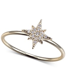 Cubic Zirconia Star Ring in Gold-Tone Sterling Silver