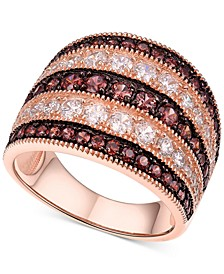 Cubic Zirconia Multi-Row Statement Ring in 14k Rose Gold-Plated Sterling Silver