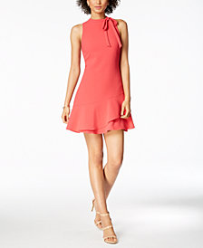 julia jordan Tie-Neck Ruffle Dress