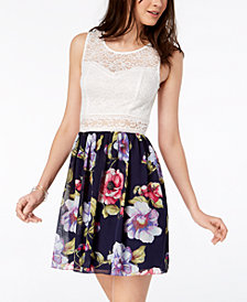 BCX Juniors' Printed Lace A-Line Dress