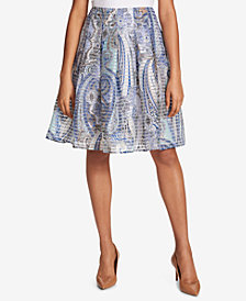 Tommy Hilfiger Pleated Paisley-Print Skirt
