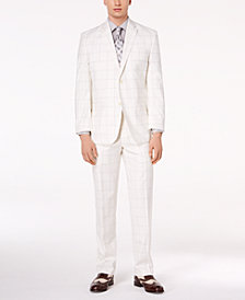Sean John Men's Classic-Fit Stretch White/Gray Windowpane Suit Separates