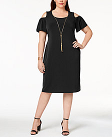 JM Collection Petite-Plus Size Cold-Shoulder Dress, Created for Macy's