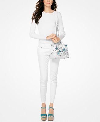 Michael Kors Mercer Gallery small white bag 7JkjL