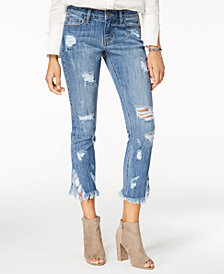 Blue Desire Juniors' Distressed Cropped Skinny Jeans