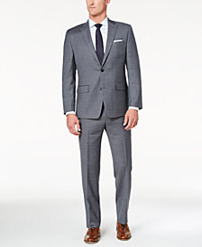 CLOSEOUT! Michael Kors Men's Classic-Fit Light Gray/Blue Grid Suit
