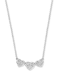 "EFFY® Diamond Heart Trio 18"" Pendant Necklace (1 ct. t.w.) in 14k White Gold"