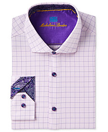 Michelsons of London Men's Slim-Fit Performance Stretch Fancy Check Dress Shirt