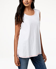 Eileen Fisher Contrast-Trim Organic Cotton Sleeveless Tunic