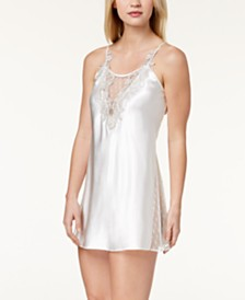 Flora by Flora Nikrooz Stella Charmeuse Embroidered-Neckline Chemise Nightgown