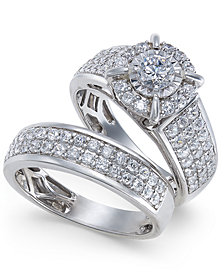 Diamond Pavé Bridal Set (1-1/2 ct. t.w.) in 14k White Gold