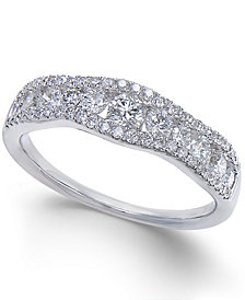 Diamond Openwork Curved Ring (3/4 ct. t.w.) in 14k White Gold