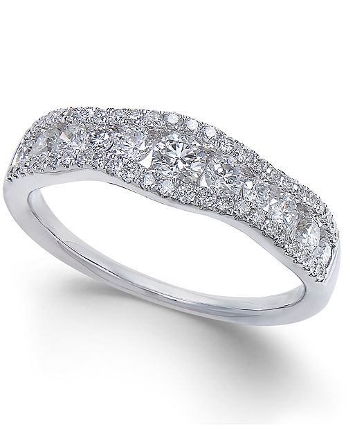 Macy's Diamond Openwork Curved Ring (3/4 ct. t.w.) in 14k White Gold