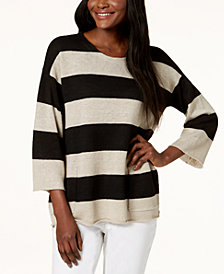 Eileen Fisher Striped Organic Linen Pocket Sweater, Regular & Petite