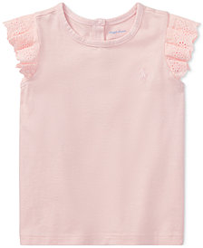 Ralph Lauren Flutter-Sleeve T-Shirt, Baby Girls