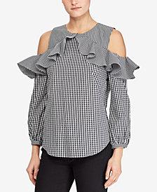 Lauren Ralph Lauren Petite Cold-Shoulder Ruffled Cotton Top