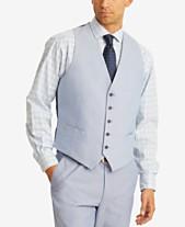 f6cc97ef0 Tommy Hilfiger Men's Modern-Fit TH Flex Stretch Blue Chambray Suit Vest