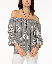 Crave Fame by Almost Famous Juniors' Off-The-Shoulder Tiered Top