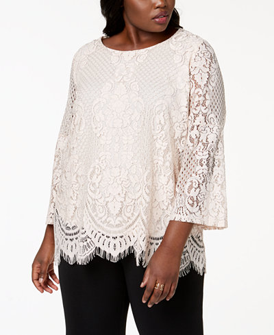 Alfani Plus Size Lace Bell-Sleeve Top, Created for Macy's