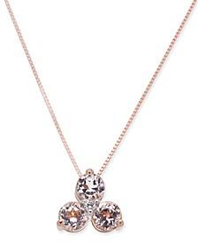 Morganite (3/4 ct. t.w.) & Diamond Accent Tri-Stone Pendant Necklace in 14k Rose Gold