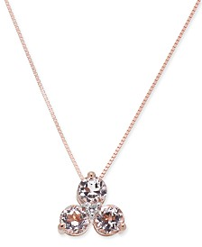 Morganite (3/4 ct. t.w.) & Diamond Accent Tri-Stone Pendant Necklace in 14k Rose Gold