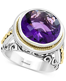 EFFY® Amethyst Filigree Statement Ring (7-9/10) in Sterling Silver & 18k Gold
