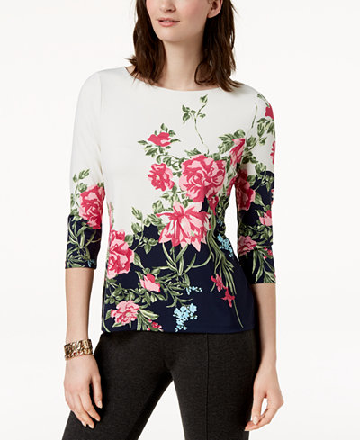 Charter Club Petite Floral-Print Top, Created for Macy's