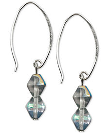 Jody Coyote Iridescent Bicone Bead Drop Earrings in Sterling Silver & Silver-Plate