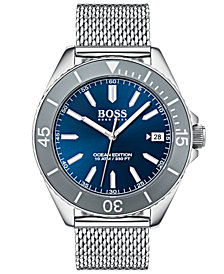 BOSS Hugo Boss Men's Ocean Edition Stainless Steel Mesh Bracelet Watch 42mm