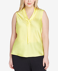 Tahari ASL Plus Size Sailor-Tie Charmeuse Top