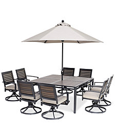 "Marlough II Outdoor Aluminum 9-Pc. Dining Set (62"" Square Table and 8 Swivel Rockers) with Sunbrella® Cushions, Created for Macy's"
