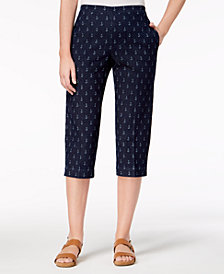 Alfred Dunner Petite America's Cup Anchor-Print Capri Jeans