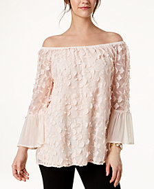 Alfani Floral-Applique Bell-Sleeve Top, Created for Macy's